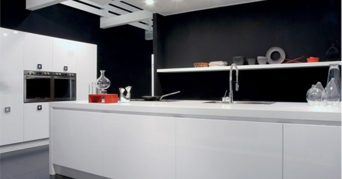 black and white color kitchen